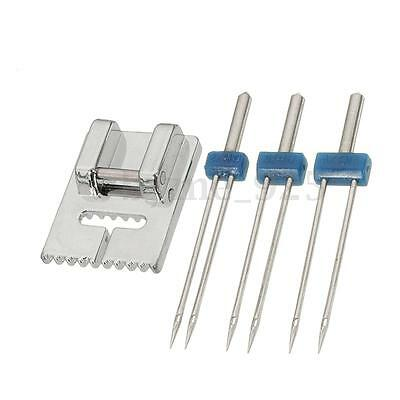 3 Sizes Double Twin Needle Pins + Groove Pintuck Foot for Brother Sewing Machine