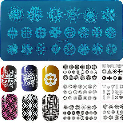12 New DIY Nail Art Stencil Stamp Plates Polish Stamping Manicure Image Template