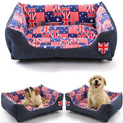 Luxury Extra Soft  Warm Comfy Fabric Dog Cat Pet Bed Puppy Washable USA UK Flag