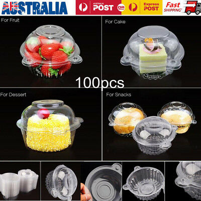 100x Clear Plastic Cupcake Case Muffin Pods Dome Single Cup Cake Boxes Holder AU