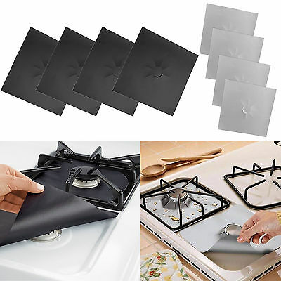 Set of 4 27x27cm Reusable Gas Range Liner Stove top Burner Protector Non Stick