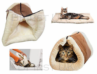 2in1 Self Heating Soft Plush Igloo Pet Kitten Cat Puppy Dog Sleeping Pad Bed Mat