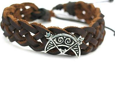 Pictish Celtic Crescent and V Rod feature leather bracelet. Viking, Celtic