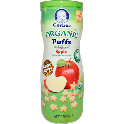 New Gerber Organic Puffs Apple Baby Snacks Feeding Daily Children's Care Healthy