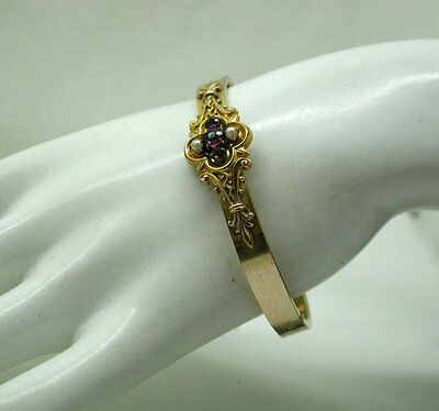 Beautiful Victorian Gold Pinchbeck Ornate Amethyst And Pearl Bangle