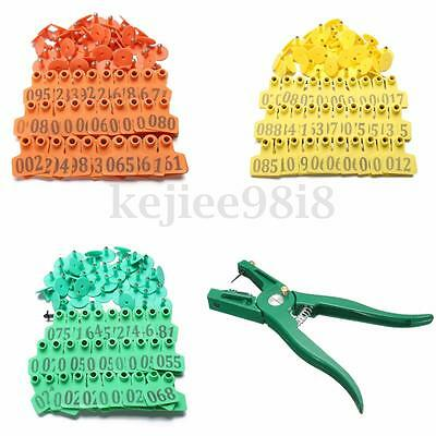 Livestock Sheep Animal Cow Ear Tags ID Lables Tag Applicator Plier 1-100Pc Num