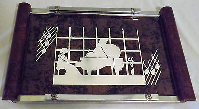 Vtg Girl Woman at Piano Art Deco Mirror Cocktail Serving Vanity Tray Music Notes