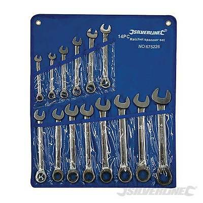 Silverline Fixed Head Ratchet Spanner Set 14pce (8mm-24mm) 675226