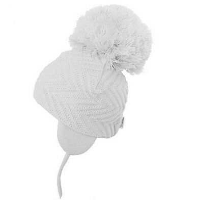 Satila Jackie Huge Pom Hat Colours -PINK,BLUE,WHITE, SIZES 0-5mth to 3-5yrs