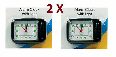 2X Travel Small Mini Pocket Size Alarm Clock With Light Camping Business Holiday