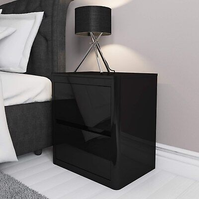 Black High Gloss Bedside Table 2 Drawer Cabinet Chest Bedroom Furniture