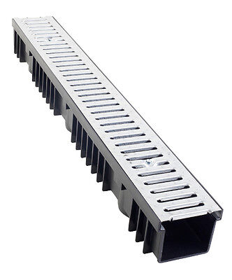 A15 Drainage Channel x 1m with Galvanised Grating - pack of 10 lengths
