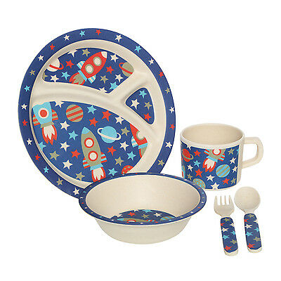 Kids 5pc Kids Toddlers Space Meal Dinner Bowl Cup Plate Fork Spoon Dining Set