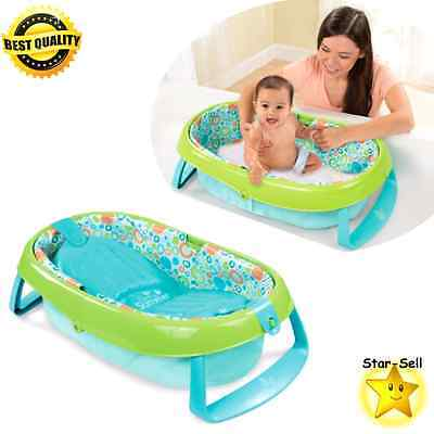 Infant Bath Tub Newborn Positioner Toddler Bathing Foldable Baby Bath Blue