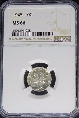 1945 Mercury Dime Ngc Certified Ms 66 Mint State (028)