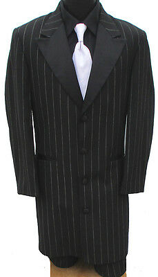 Boys Black Zoot Suit Tuxedo With Pants Frock Gangster Halloween Costume Prom 14B
