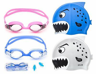 Kids Swimming Goggles Adjustable Anti Fog + Silicone Swim Cap Shark Flexible