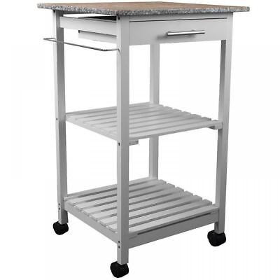 Wooden Kitchen Trolley Furniture Granite Table Top Bar Food Drinks Wheeled Unit