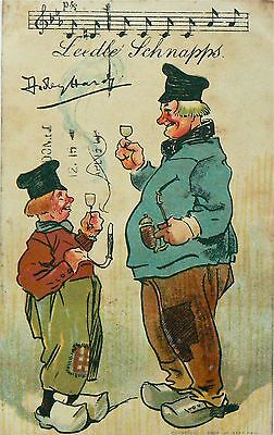 Vintage Postcard.comic.leedle Schnapps.postmarked 1908.one For The Drinkers.