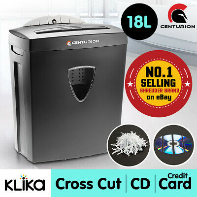 Centurion Office Combo Paper Shredder 18L Cross Cut 7 Sheets Cds Credit Cards