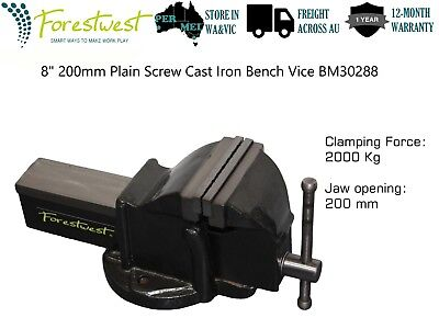 "8"" 200mm Plain Screw Cast Iron Bench Vice 200mm Wide Steel Jaw BM30288"