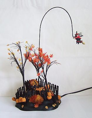 Dept 56 Halloween Village Animated Up, Up & Away Witch 52711 Witch Rotates SLFEX