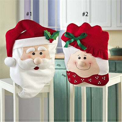 Mrs Santa Claus Christmas Dinner Banquet Chair Back Cover Xmas Party Home Decor