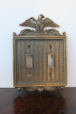 Vintage double heavy metal brass colored 3-D American Eagle light switch cover