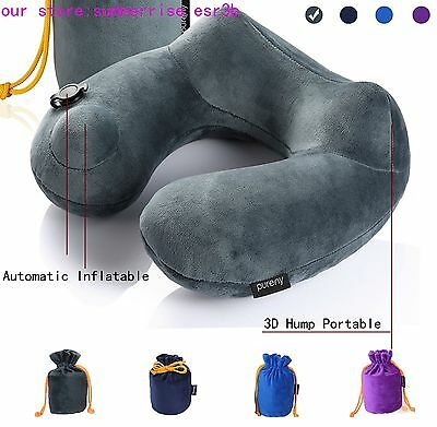 Car Flight Travel Soft Portable Automatic Inflatable Neck Rest Cushion U Pillow