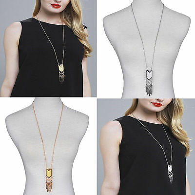Vintage Tassel Sweater Long Chain Pendant Gold Silver Plated Necklace Jewerly