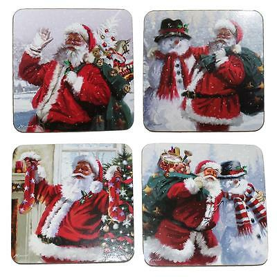 Christmas Tableware 4 Pack Boxed Cork Backed Coaster Set - Santa
