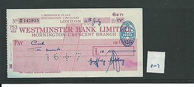 wbc. - CHEQUE - CH807 -  USED -1955 - WESTMINSTER BANK, MORNINGTON CRESCENT, NW1