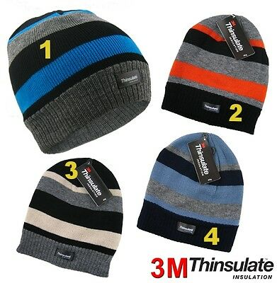 Boys Thermal 3m Thinsulate Insulated Adult Stripe Beanie Winter Warm Hat