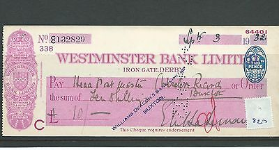 wbc. - CHEQUE - CH820 -  USED -1932 - WESTMINSTER BANK, IRON GATE. DERBY