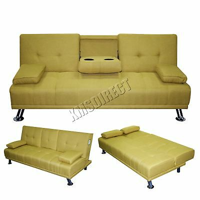 FoxHunter Fabric Manhattan Sofa Bed Recliner 3 Seater Modern Luxury Design Green