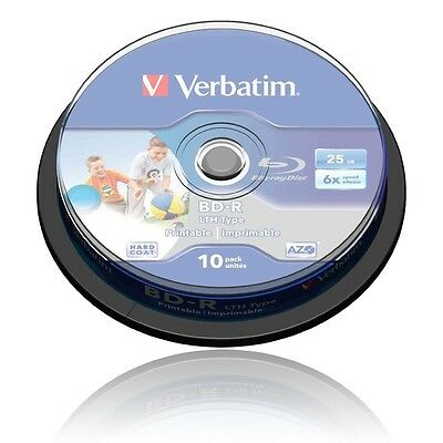 Verbatim BD-R LTH Blu-ray Rohlinge 6x Speed 25GB 10 x Spindeln HD, MP3 Nr. 43751