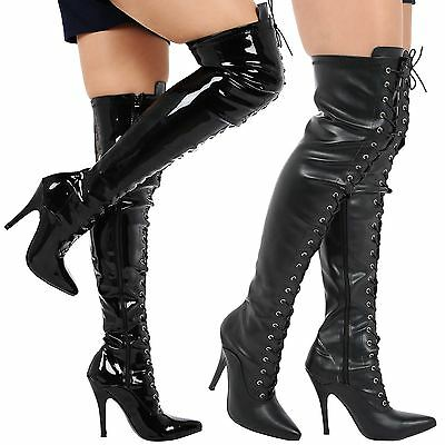 Destiny Womens Thigh High Stiletto Heels Lace Up Pointed Toe Boots Ladies Size