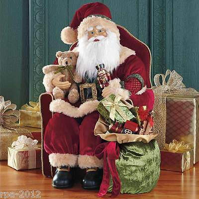 """30"""" Sitting Santa Traditional Red Velvet Fabric Father Christmas Decoration NEW"""