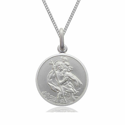 """925 Sterling Silver 12mm St Saint Christopher Pendant & Chain Necklace 14 - 24 """""""