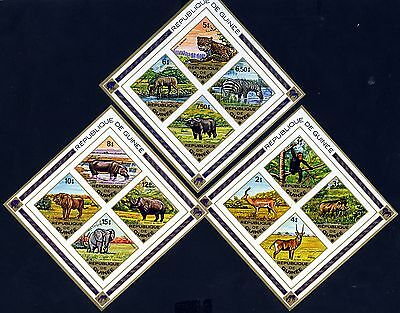 REPUBLIC OF GUINEA 1975 Complete Wild Animals Set Mini-Sheets SG 871 to 882 MNH