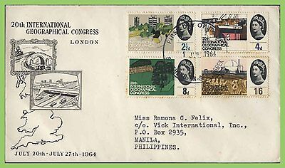 GB 1964 Geographical Congress set on illustrated First Day Cover Southend Toned
