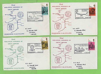 GB 1970 52nd Philatelic Congress four Commemorative Covers Consecutive Cancels