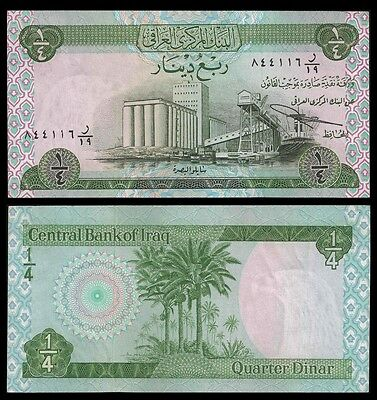 IRAQ 1/4 DINAR Sign 17 ND 1973 P 61 aUNC