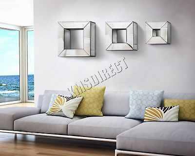 FoxHunter Bevelled Mirrored Furniture Glass Cube Floating Shelves 3 Set Wall New