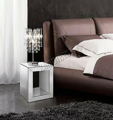 WestWood Mirrored Furniture Clear Glass Bedside Cabinet Cube Table Bedroom MT03