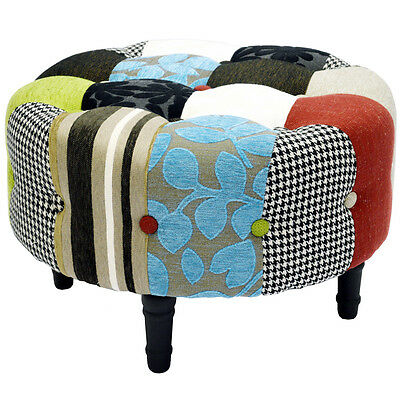 PATCHWORK - Round Pouffe Footstool with Wood Legs - Blue / Green / Red OCH4011