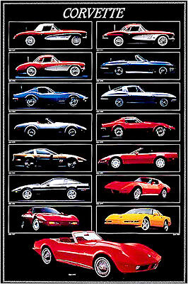 History of the Corvette (1957-94) Autophile Wall Chart Sports Cars POSTER