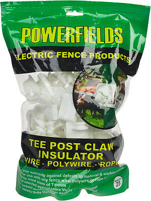 25 ct White T-Post Claw Insulator