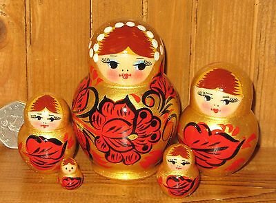 Russian SMALL nesting doll 5 GOLD RED BLACK Khokhloma Matryoshka Christmas gift
