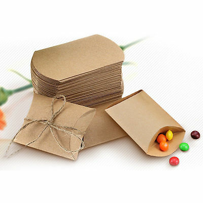 50pcs Cute Kraft Paper Pillow Favor Gift Box Wedding Party Favour Gift Candy Bag